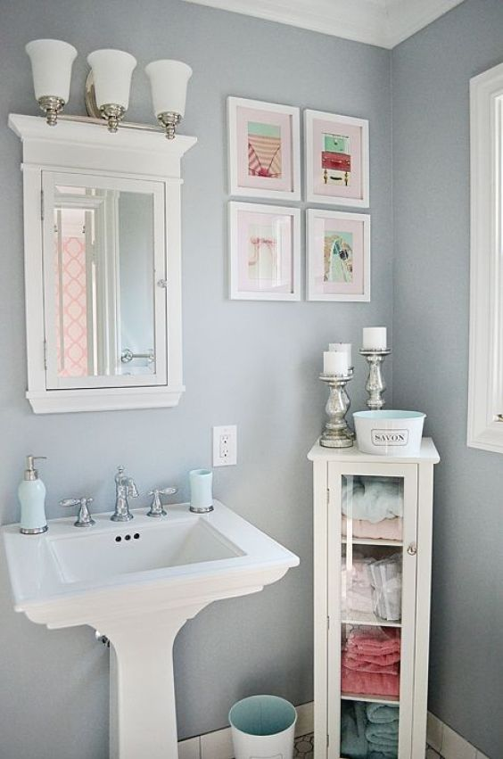 Bathroom Wall Decor Cute Pink Framed Picture - Harptimes.com