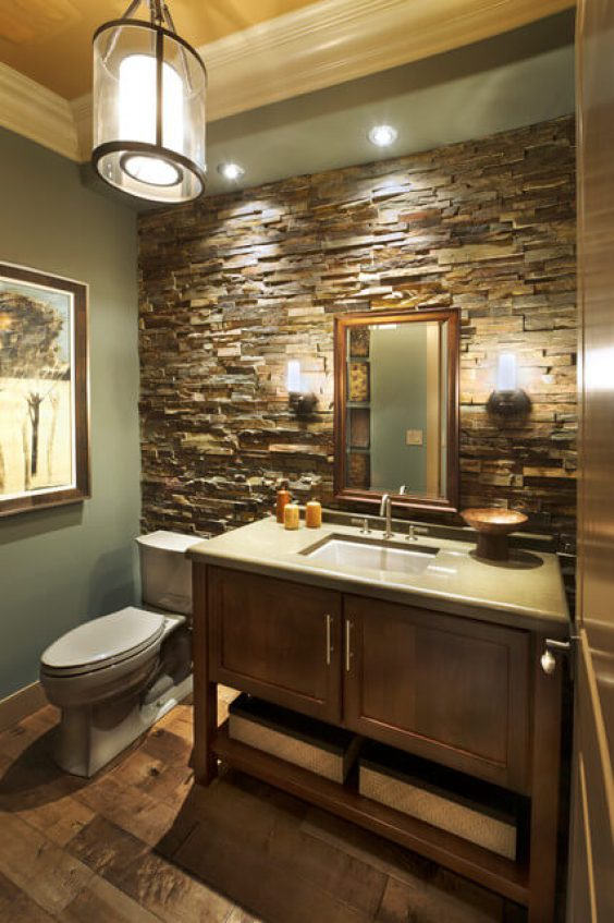 Bathroom Wall Decor Decorating Bathroom with Stone Accent Wall - Harptimes.com