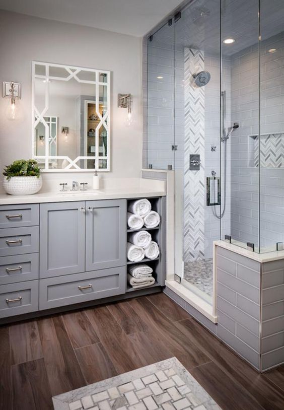 Bathroom Wall Decor Neutral Master Bathroom Walk-In Shower Ideas - Harptimes.com