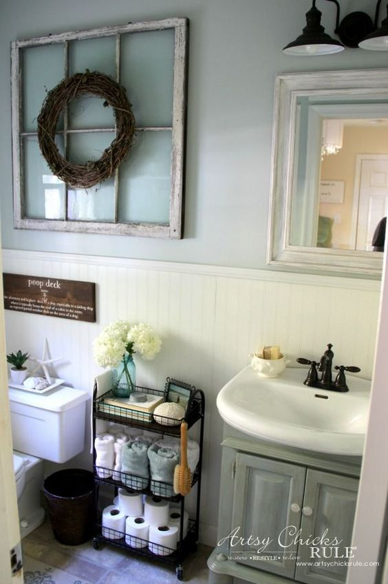 Bathroom Wall Decor Rustic Farmhouse Style Wreath - Harptimes.com