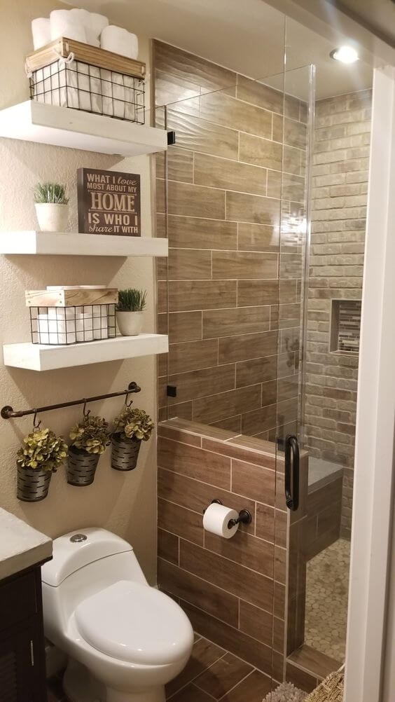 Guest Bathroom Ideas Wall Tile and Bricked Wall Combo - Harptimes.com