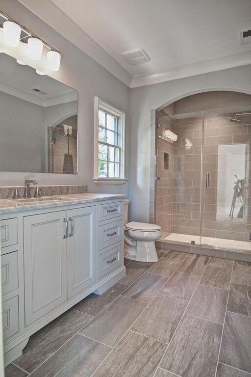 Master Bathroom Ideas with Wood Grain Floor