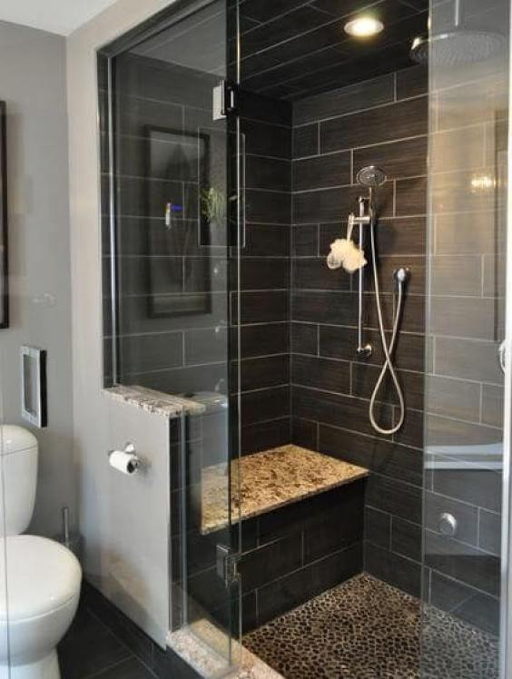 Modern Bathroom with Black Subway Walk In Shower Tile Ideas - Harptimes.com