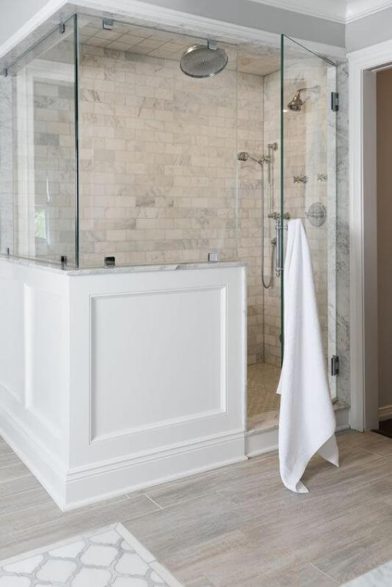 Modern Farmhouse Bathroom Walk In Shower Tile Ideas - Harptimes.com