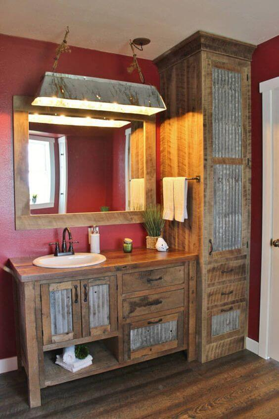 Rustic Bathroom Decor Ideas with Galvanized Metal Cabinet - Harptimes.com