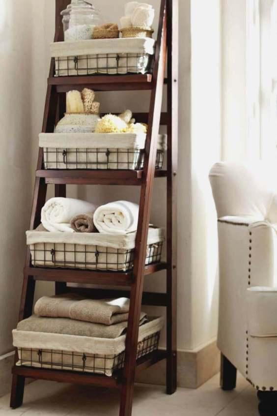 Rustic Bathroom Ideas Ladder Shelf for Spa Bathroom - Harptimes.com