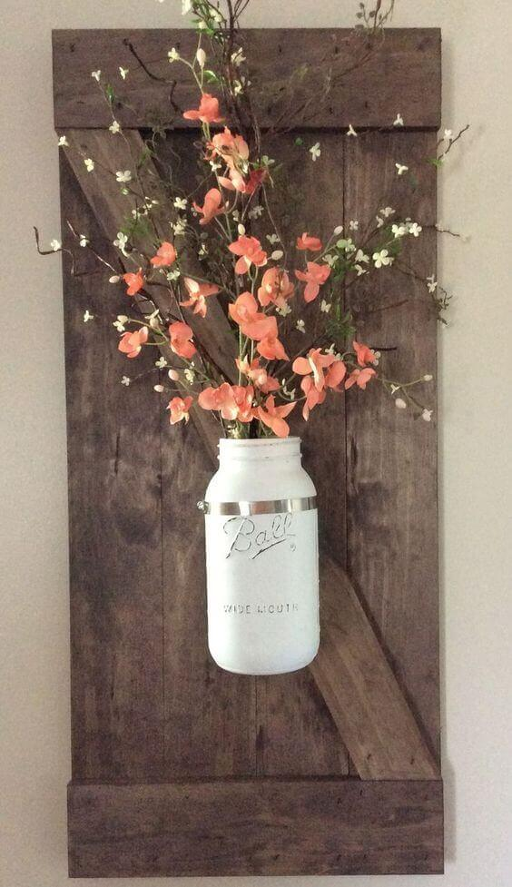Rustic Bathroom Ideas Potted Flowers Wall Decor