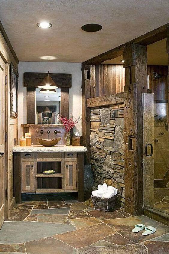 Rustic Master Bathroom Ideas with Artistic Stone Flooring - Harptimes.com