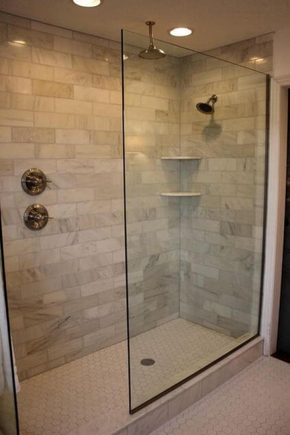 Simple Narrow Walk-In Shower Tiles Ideas with Marble Subway Tile - Harptimes.com