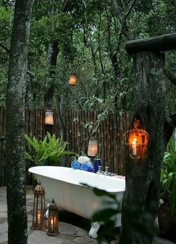 Outdoor Shower Ideas Claw-Foot Bathtub in the Middle of the Jungle - Harptimes.com