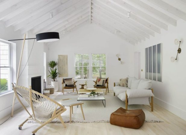 All-White Modern Living Room Ideas with Log Cabin Ceiling