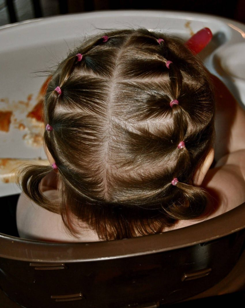 Banded Pigtails Hairstyle for Active Baby Girl
