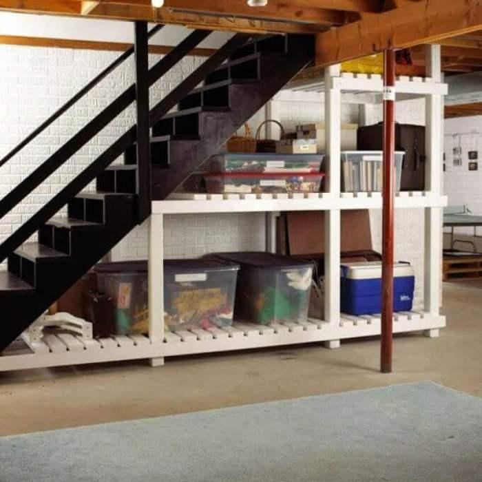 Dark and Bright Combination Basement Storage Ideas