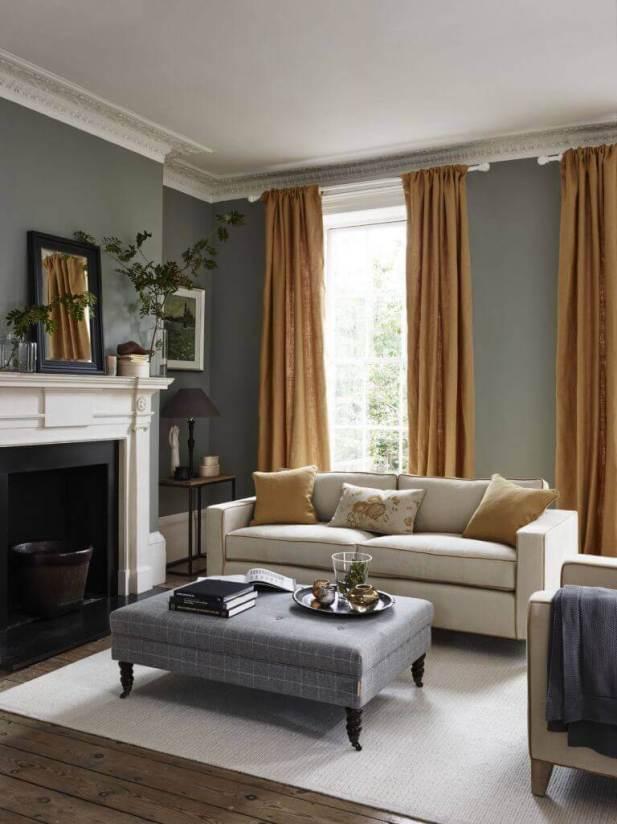 Golden Rod Curtain in Gray Living Room Ideas