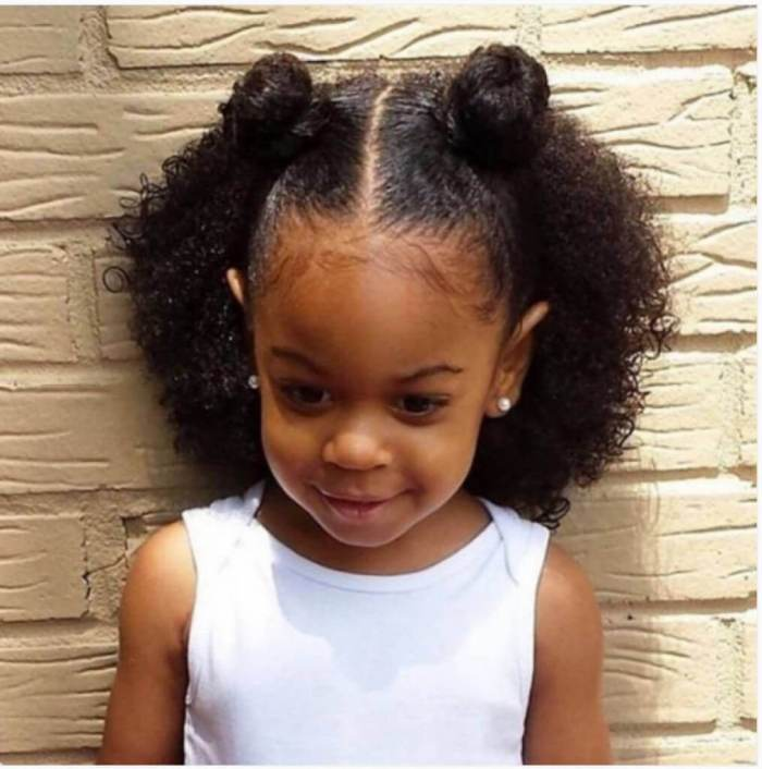 Little Black Girl Hairstyles Middle-Parting with Side Knots