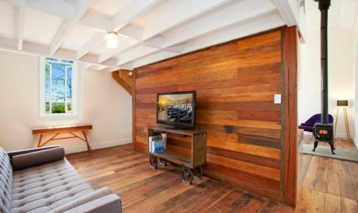 Modern Industrial Living Room with Wood Accent Wall Ideas