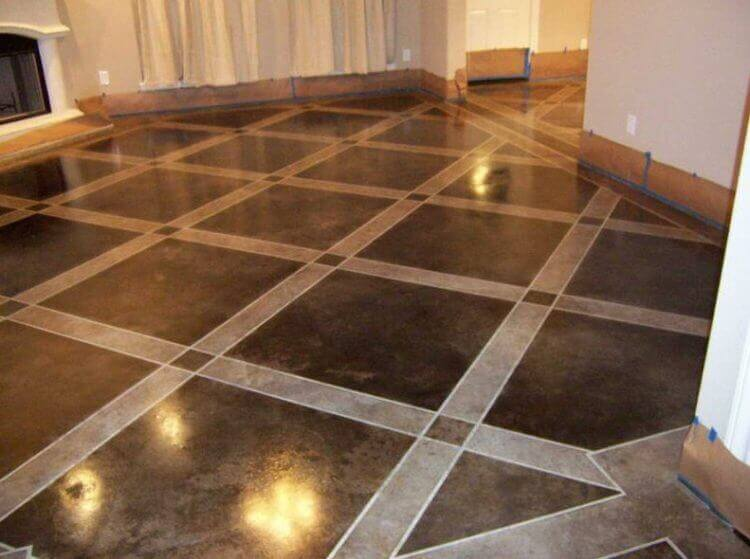 Epoxy Basement Floor Paint Ideas with Square Patterns