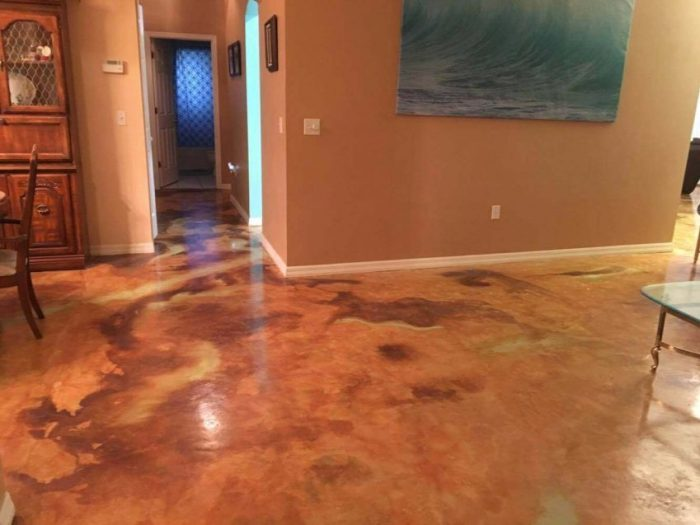 Stained Concrete Floor for Basement Paint Ideas