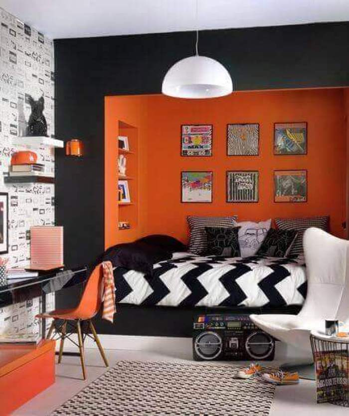 Boys Bedroom Ideas Black and Orange Cubicle - Harptimes.com