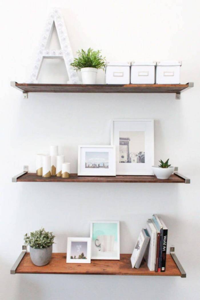 Distressed Wood Wall Shelving Ideas for Small Spaces