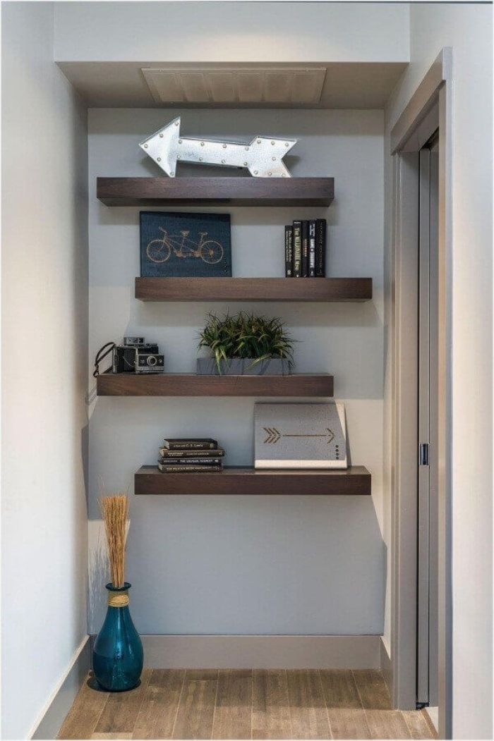 Wall Shelves Ideas at the End of Hallway