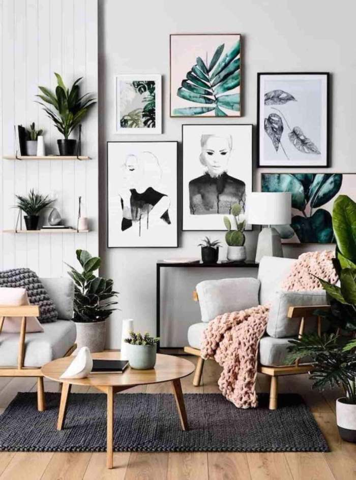 Gallery Wall Ideas Houseplants in Living Room