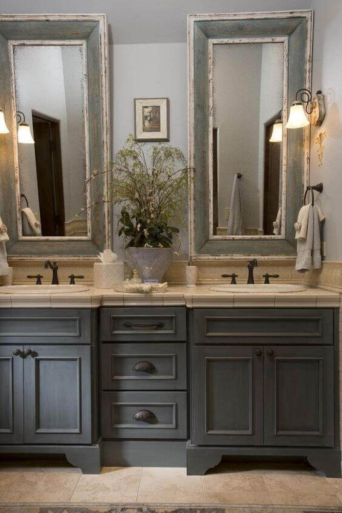French Country Decor Classic Bathroom with Distressed Vanity Mirror - Harptimes.com