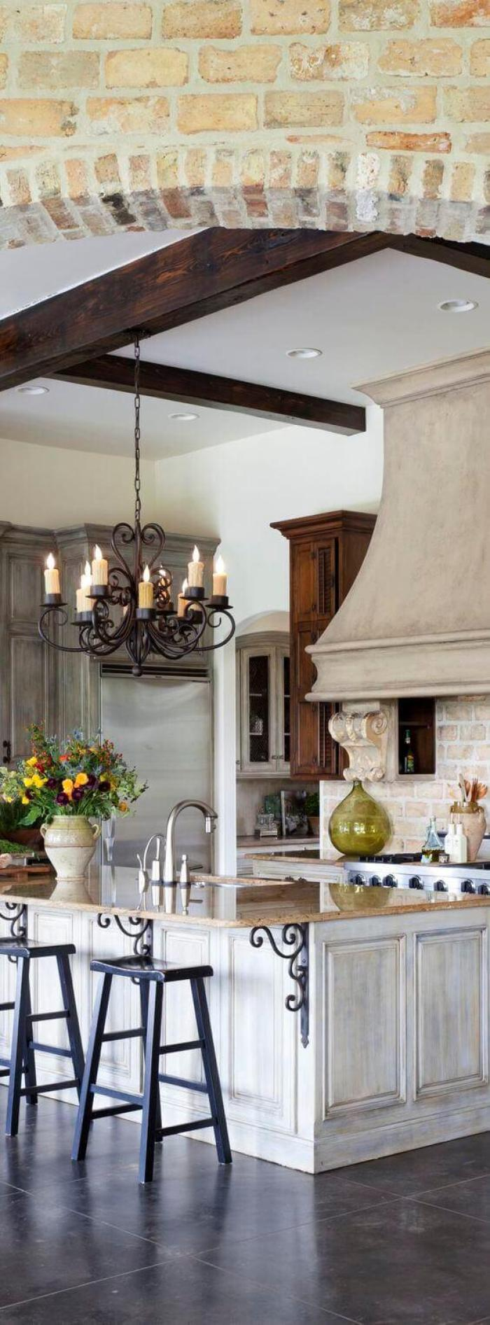 French Country Decor Fancy Kitchen with Chandeliers - Harptimes.com