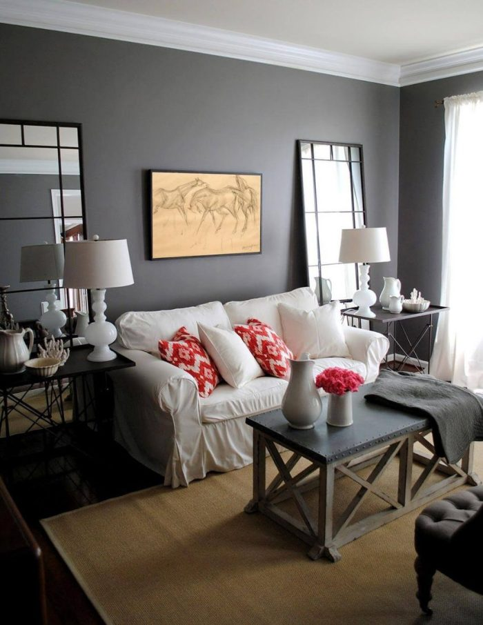 Grey with Modern Farmhouse White in Living Room Ideas