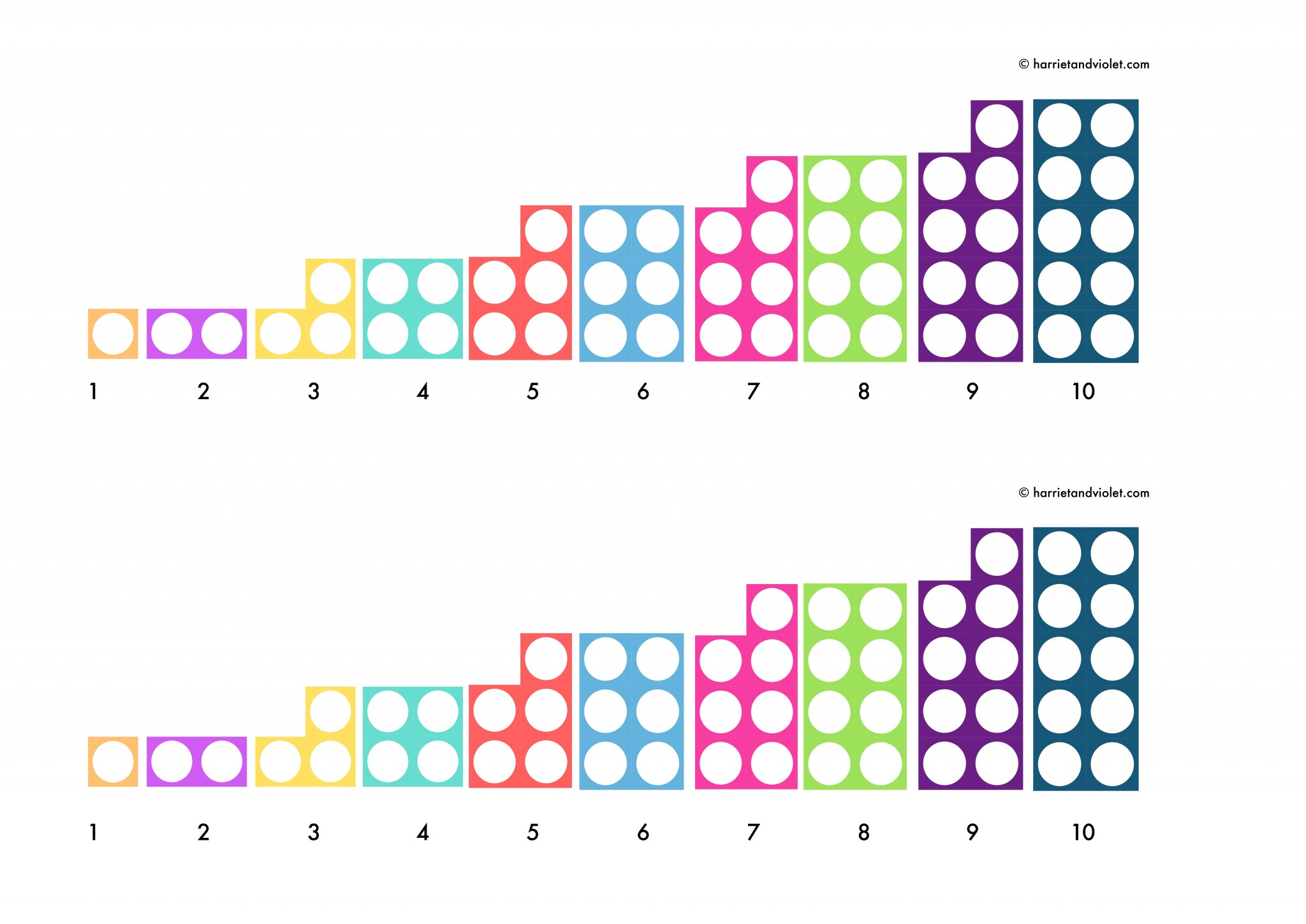 Numicon Style Number Line 0 10