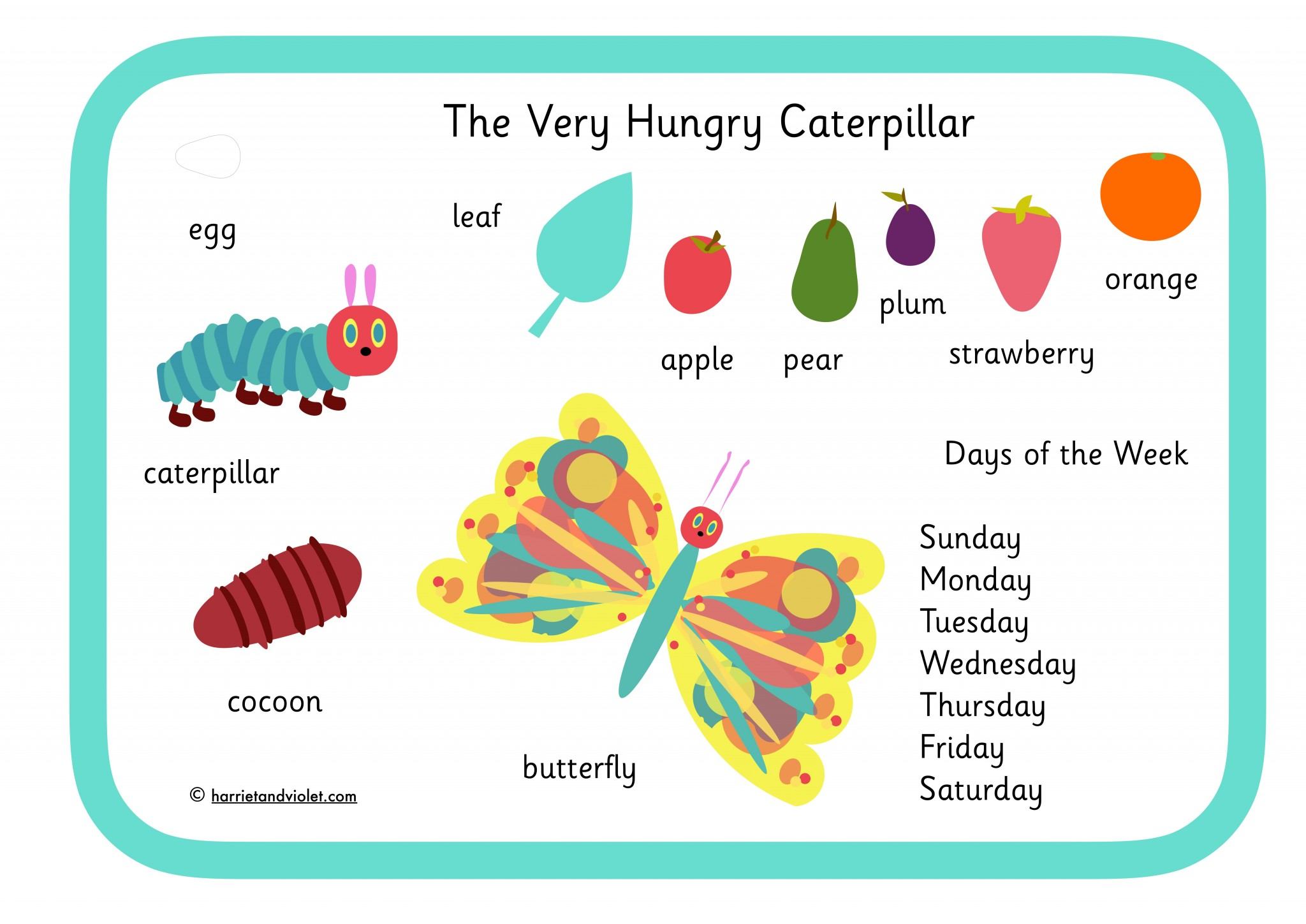 The Very Hungry Caterpillar Style Word Mat