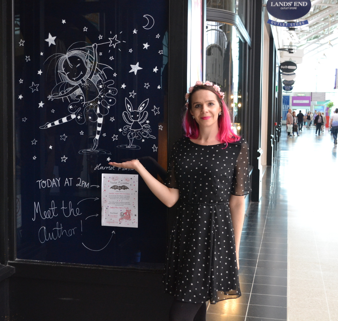 My Isadora Moon picture on the window of Hatfield Waterstones