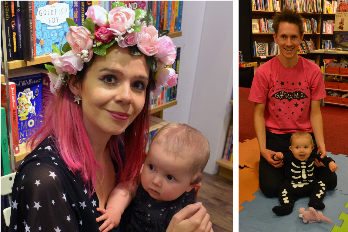 Harriet Muncaster and Celestine in matching Isadora Moon starry dresses and Henry Celestine and Pink Rabbit