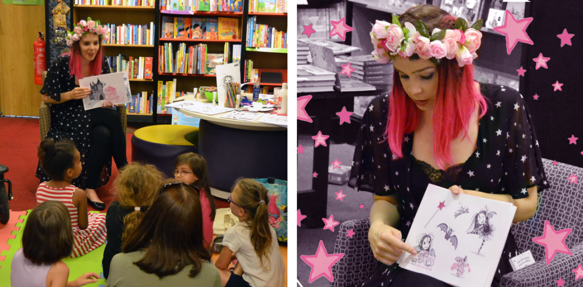 Harriet Muncaster reading from Isadora Moon at St Albans Waterstones