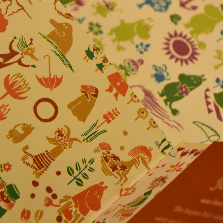 End papers of hard-back Moomintroll editions