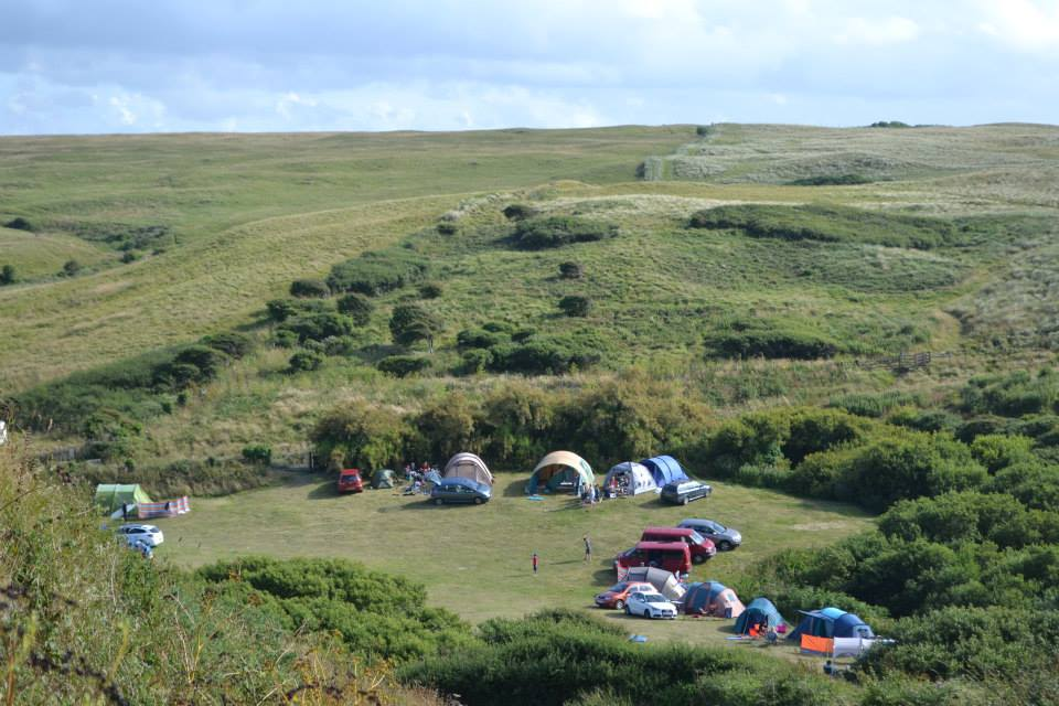 Polly Joke campsite from the hill