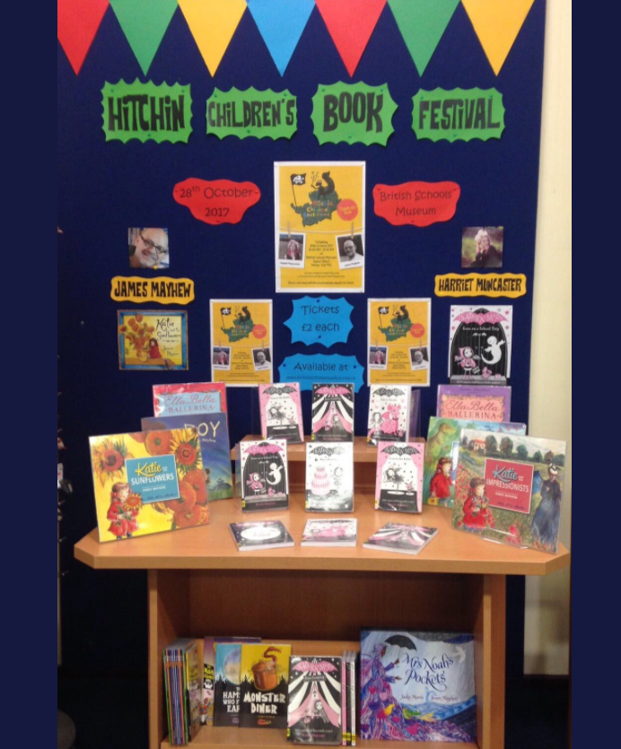 Hitchin Childrens Book Festival poster at Hitchin Library