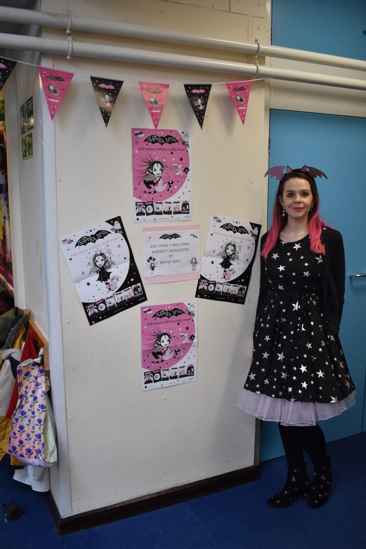 Harriet Muncaster at Broke Hall School Ipswich with Display