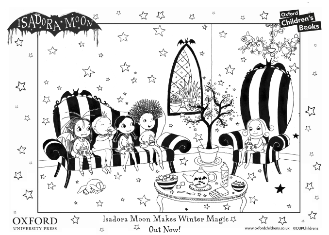 Click to download the Isadora Moon and Friends Drinking Hot Chocolate Colouring Sheet