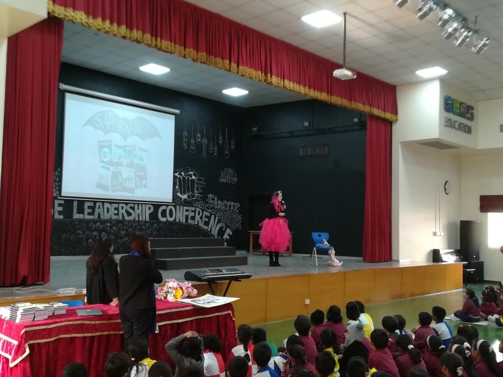 Harriet Muncaster visists Cambridge International School in Dubai