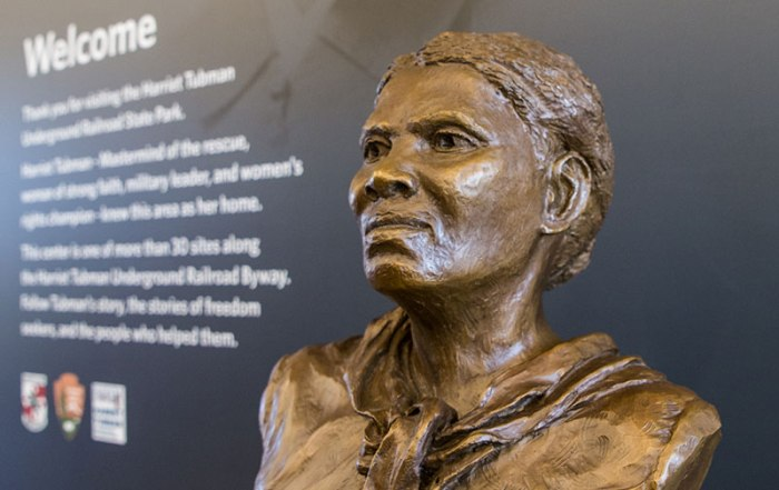Harriet Tubman statue at the Harriet Tubman Underground Railroad Visitor Center in Church Creek, Maryland