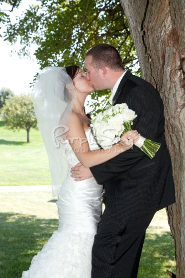 bride-and-groom-kissing-by-tree