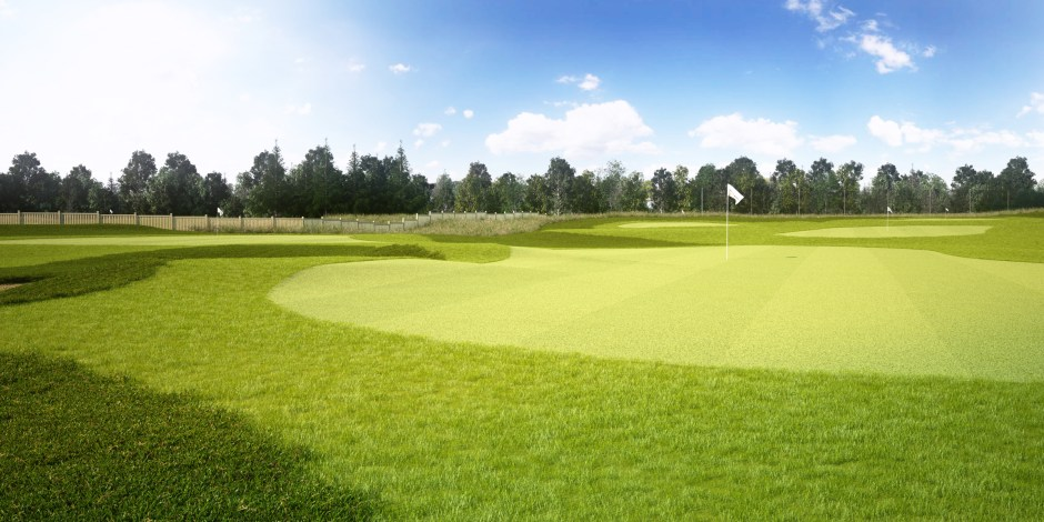 Visualisation showing one of the target greens on the practice range during the daytime