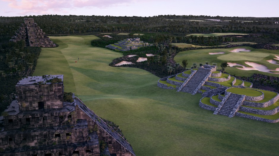 Visualisation showing replica Mayan ruins lining the fairway