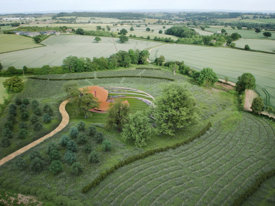 Photomontage showing an aerial view of the proposed country house
