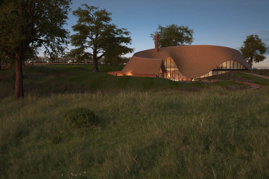 Visualisation showing the country house in the surrounding landscape