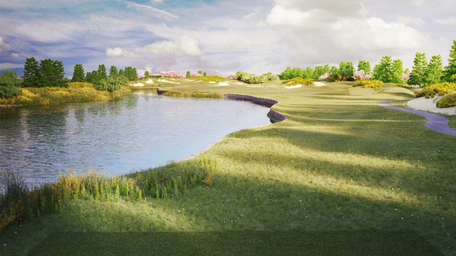Visualisation of hole 4 at the Shanghai Qidong golf course