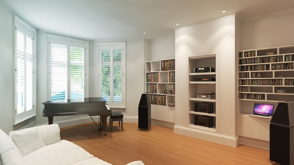 Visualisation of the sitting room which is also the music room with sound system and grand piano