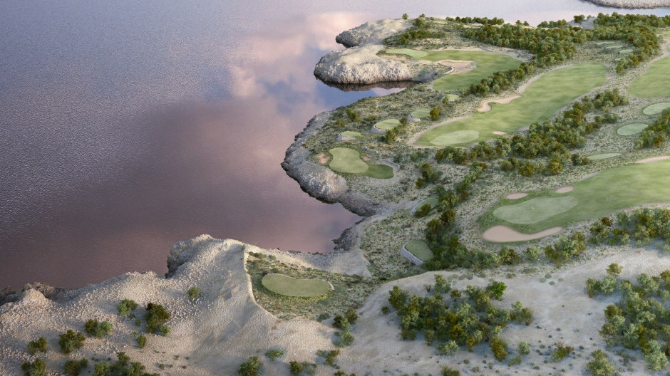 Visualisation showing an aerial view of hole 13