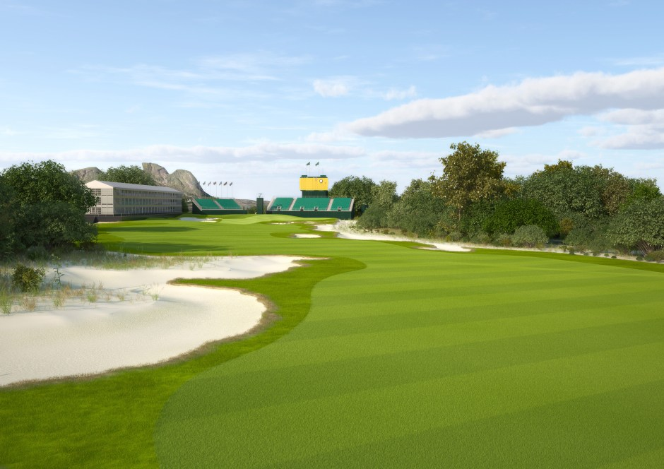 visualisation showing a view from the fairway of the 18th hole setup for a tournament